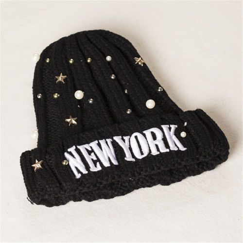 Lady Women Cotton Acrylic Winter Black New York Knitted Crochet Slouch Hat Warm Cap