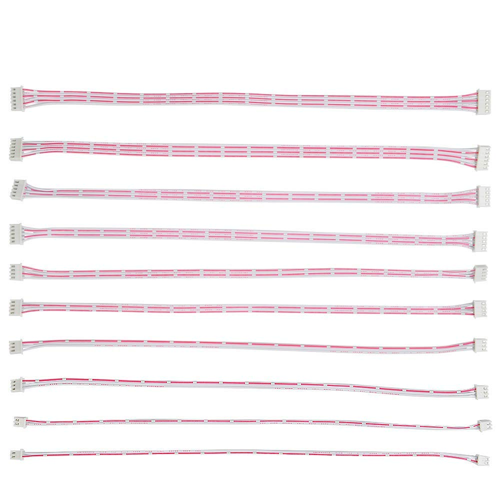 QLOUNI 10pcs 2.54mm Pitch Female to Female JST XH 2/3/4/5/6 Pin Adapter Cable Plug 30cm(Pink and White)