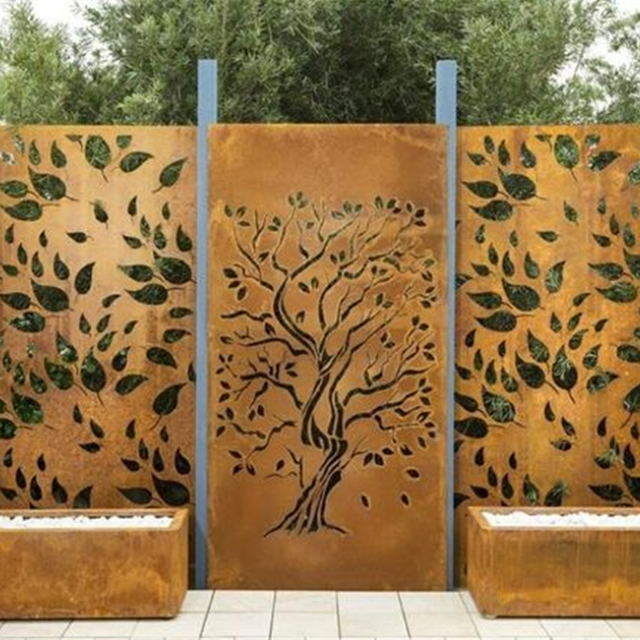 high quality corten steel garden decorative screens/laser cut metal screens