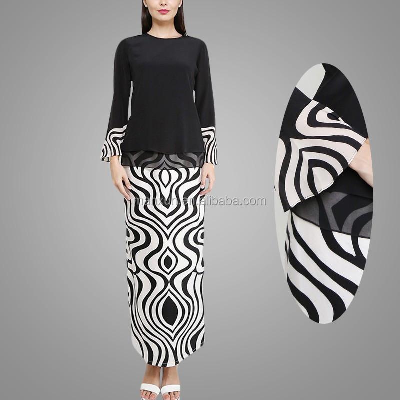 Hotsale Muslim Maxi Dress Elegant Stripe Printing Islamic Dress Abaya High Quality Baju Kurung