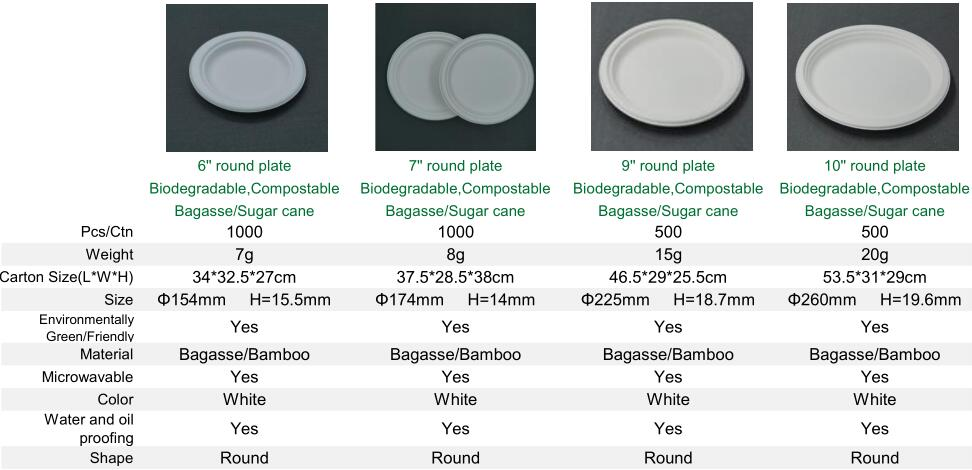 Biodegradable Custom Made Paper Plate Disposable for Dinner Dish Plate