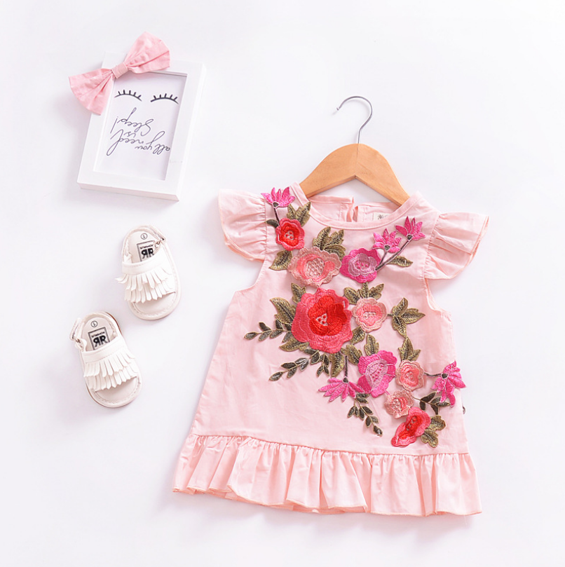 2018 New Arrival Summer Hand Embroidery Designs For Baby Girls