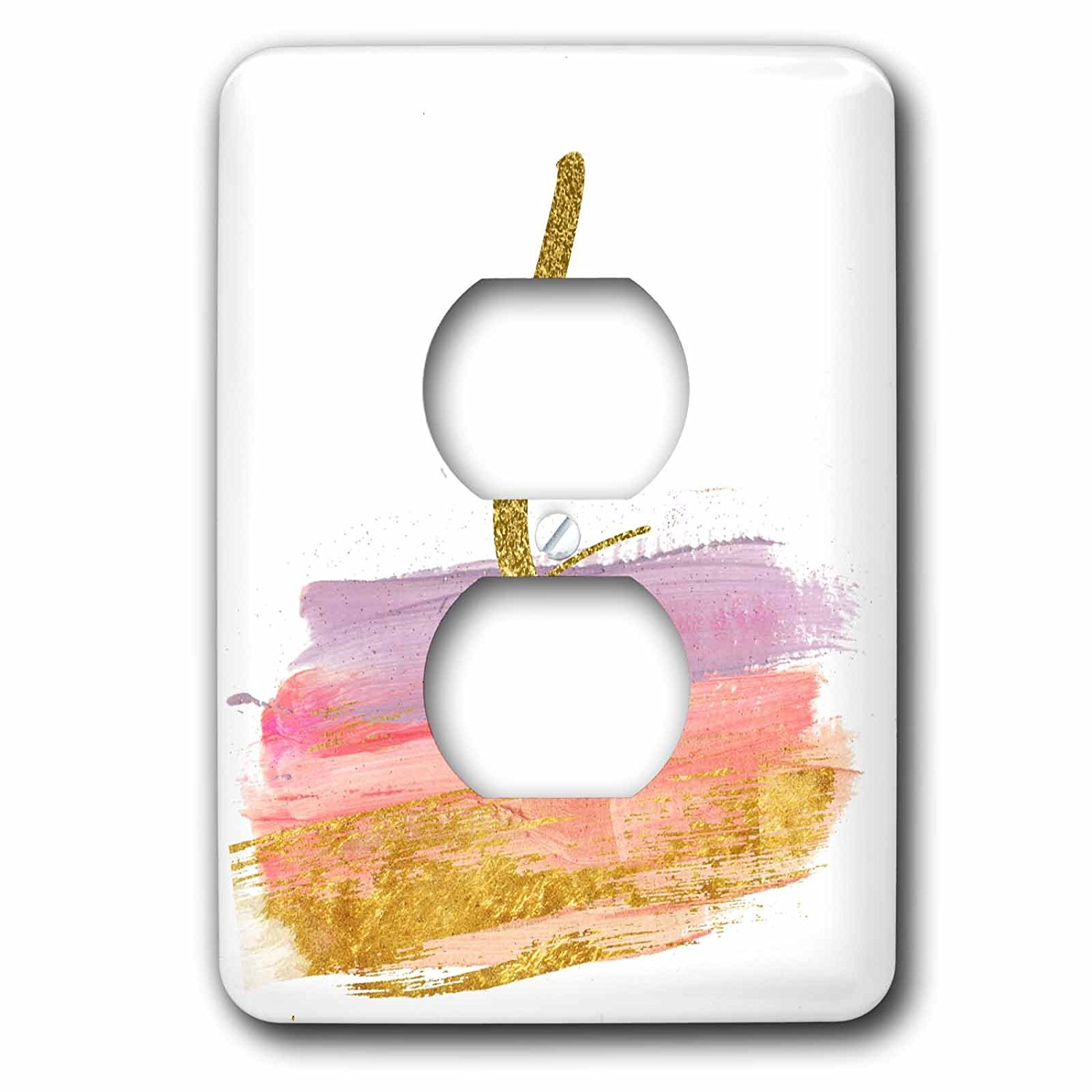 3dRose Anne Marie Baugh - Monograms - Modern Purple, Pink, Gold, Brush Strokes Monogram L - Light Switch Covers - 2 plug outlet cover (lsp_267749_6)