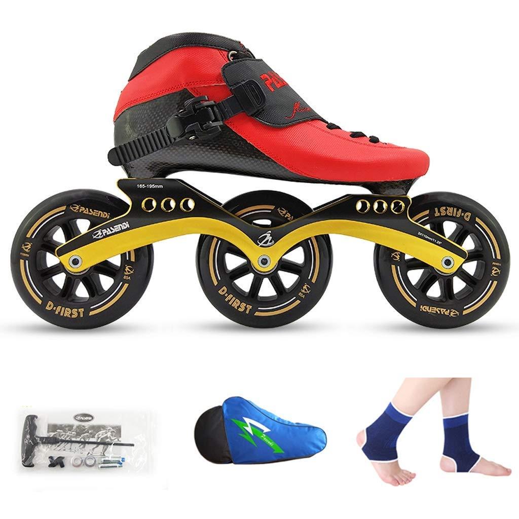 ailj Roller Skates, Speed Skating Shoes, Racing Shoes, Children's Adult Professional Skates, Men and Women Inline Skates (Color : Red Shoes+Black Wheels, Size : 40)