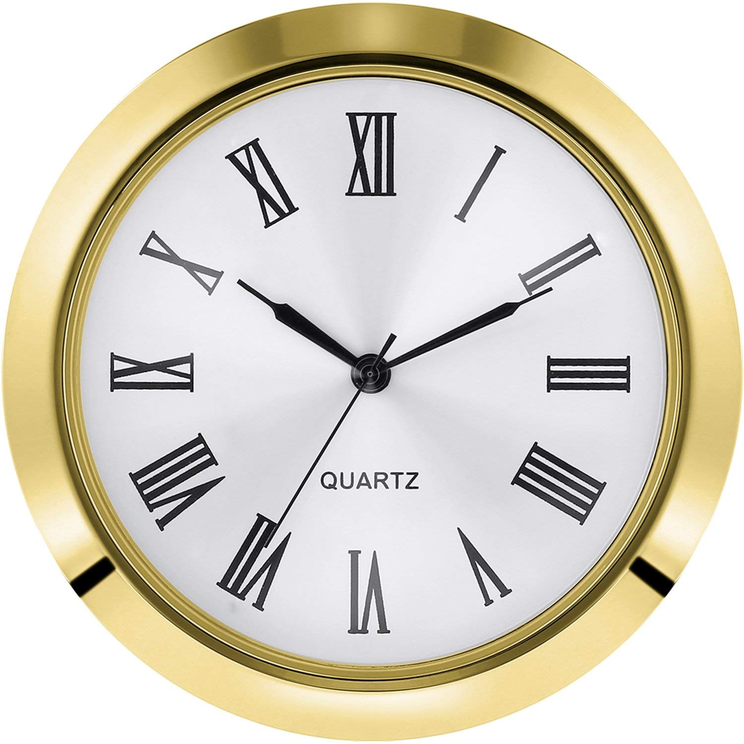 Hicarer 2-1/8 Inch (55 mm) Quartz Clock Fit-up/Insert, Fit Diameter 1-7/8 to 2 Inch (48-50 mm) Hole, Zinc-Alloy Metal Case, Roman Numeral (Gold)
