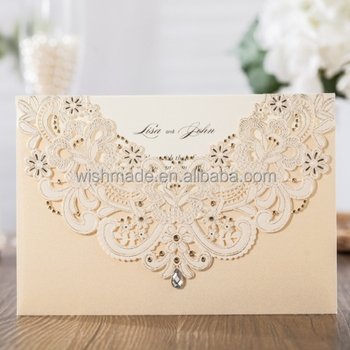 New Neck Cards Kit Customizable Cw6115 Lace Design Laser Wedding Invitation With Hollow Flora Favor
