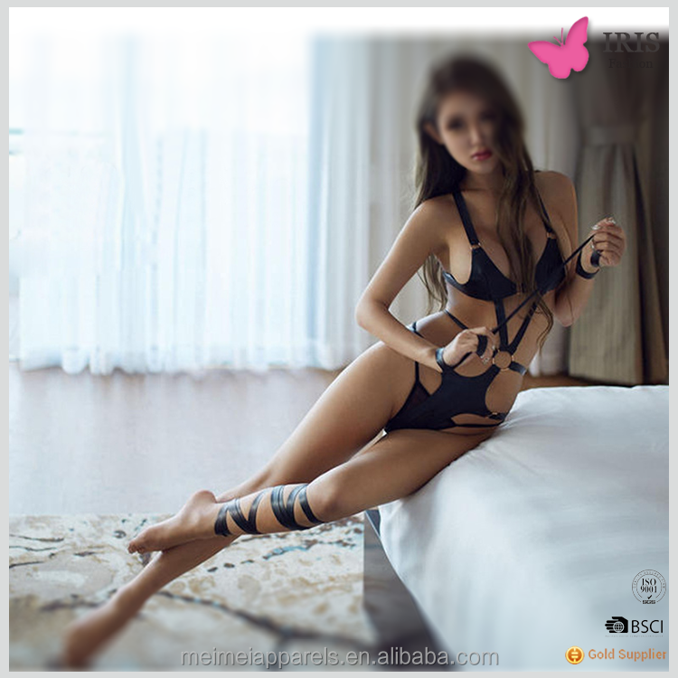 Meimei Fifty degrees black PU leather tied rope suit sexy teddy lingerie