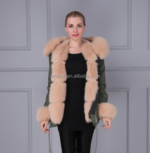 Wholesale green cotton cover winter coat real fox fur trim fake lining jacket parka for women