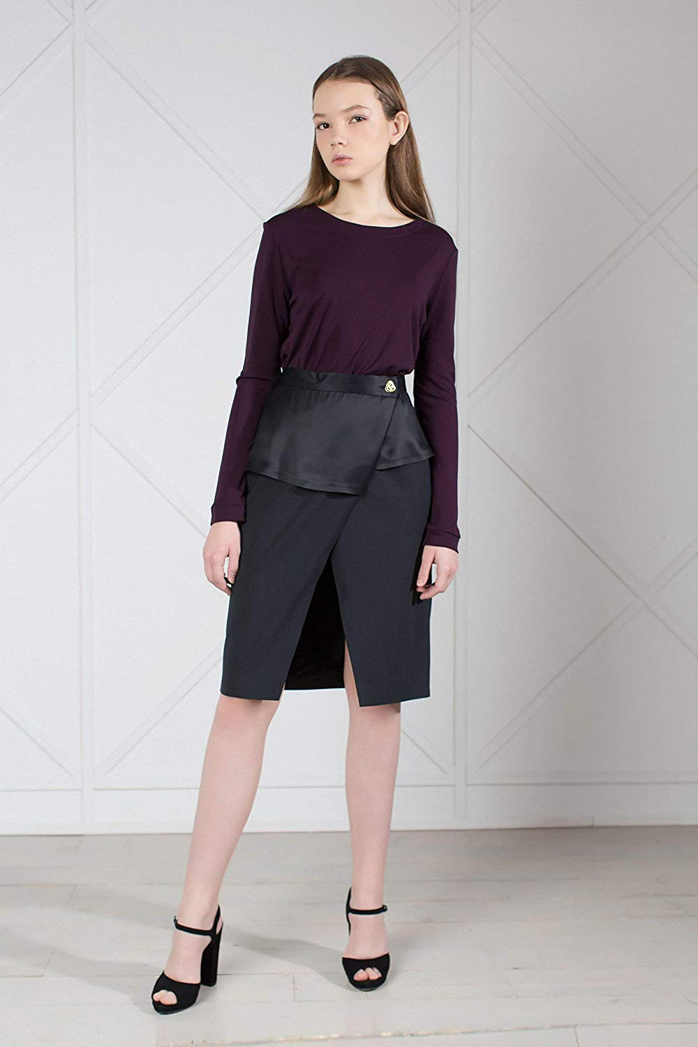 0bceb54f9 Get Quotations · Wool Wrap Pencil Skirt with Peplum Midi Length and Button  Up