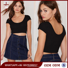 Fashion clothes manufacturers china sexy ladies black custom crop top