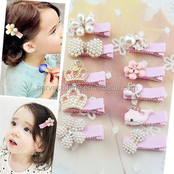 Fashion decorative pearls pink hair clips for kids