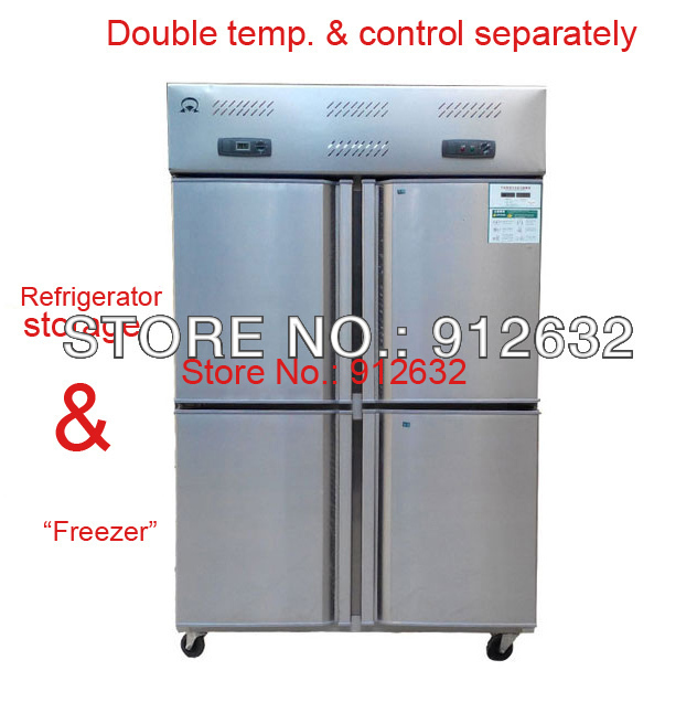 Stainless Steel Commercial 4 Door Vertical Cold Kitchen Refrigerator Freezer Fridge Cabinet Showcases