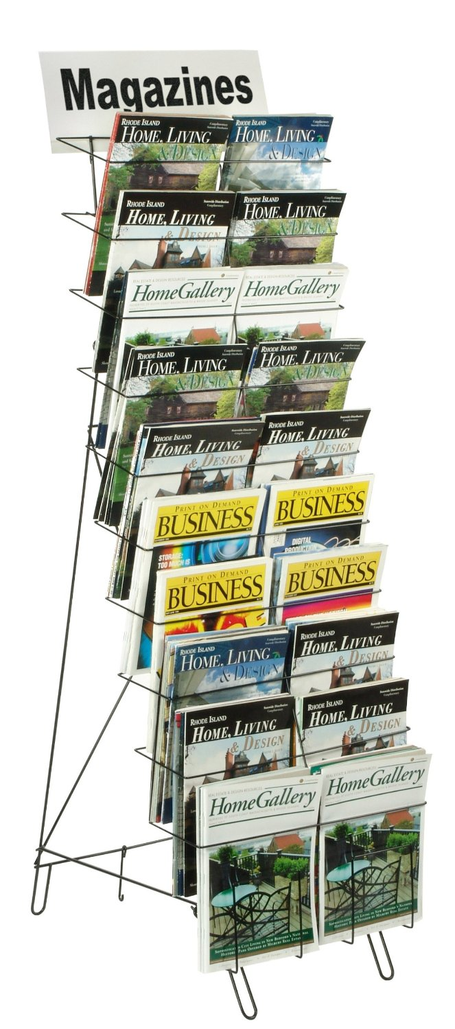 Floor-standing Wire Literature Rack with 20 Tiered Pockets
