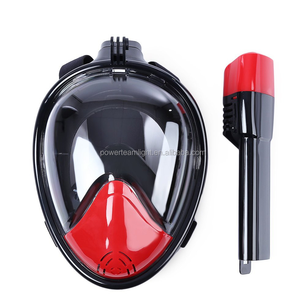 Full face snorkel mask 180 degree wide viewing snorkel mask Liquid silicone scuba gopro camera swim underwater sport