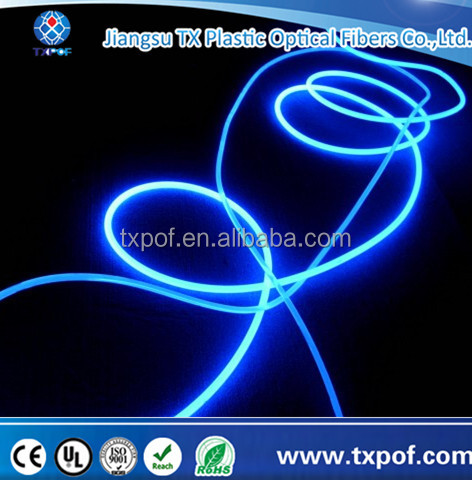 2mm plastic side glow emitting optical fiber optic fibre lighting for car interior light decoration