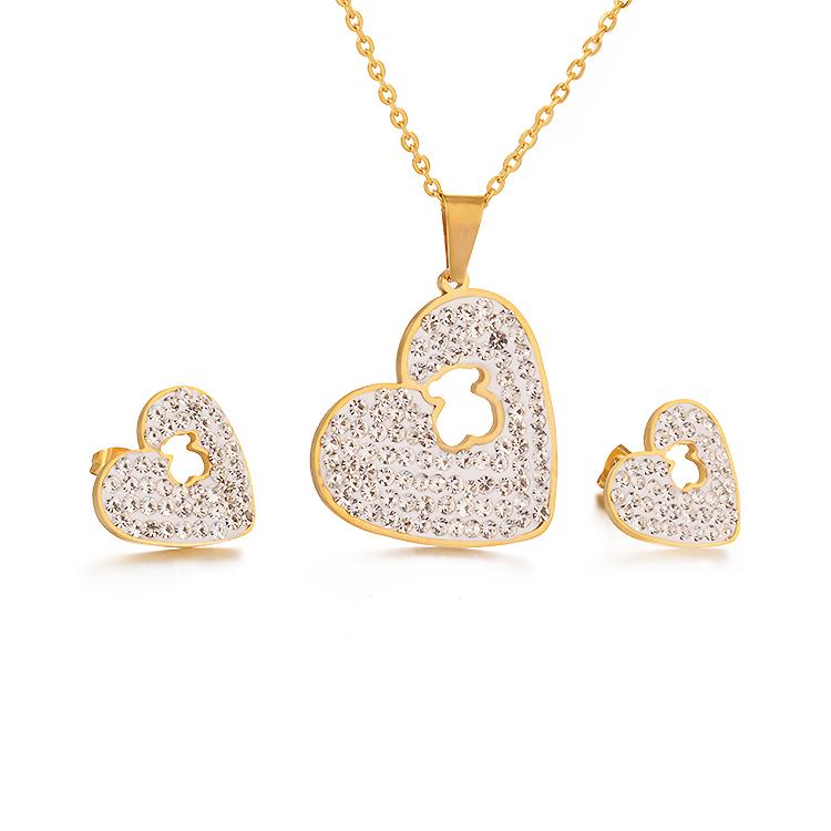bb9694b16887 Modalen conjunto de collar de diamante Joyeria de acero inoxidable Yupoo al  por mayor Oso de