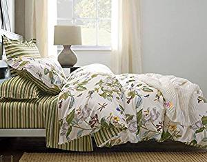 Cottage Country Style 3 Piece Duvet Cover Set Multicolored Roses Peonies Bouquet 100-percent Cotton Shabby Chic Reversible Floral Bedding (Queen, Cream)