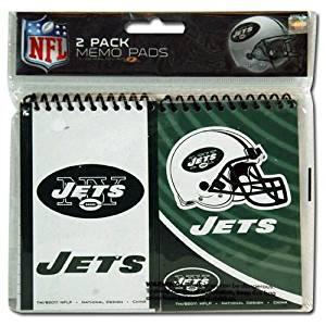 """NFL New York Jets 2pk Spiral 3x5"""" Memo Pad in Poly Bag"""