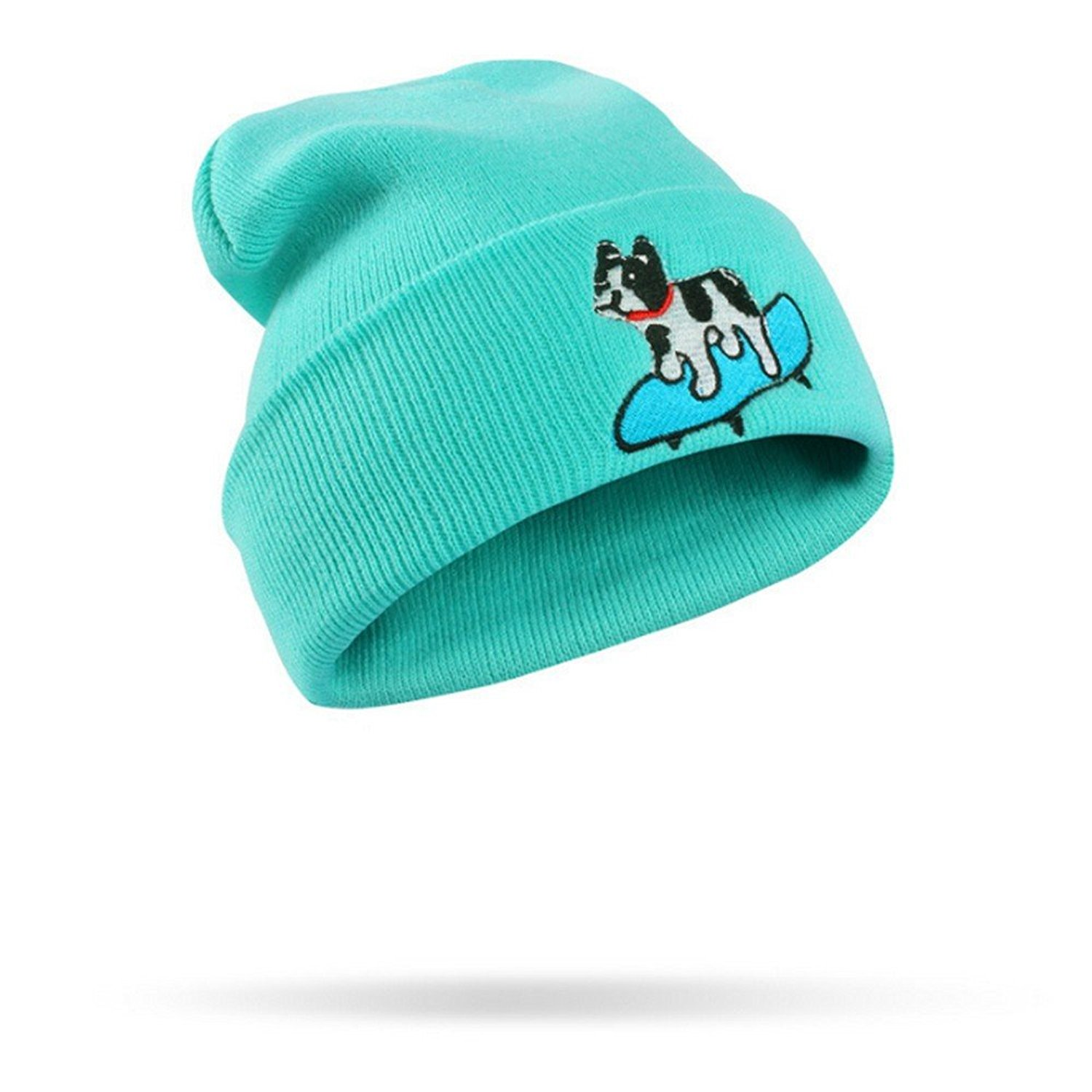 e1ef88c4c3b Get Quotations · CATOP Plain Knit Cap Cold Winter Cuff Beanie Cute Puppy  Dog Embroidery Skull Beanie Toboggan Knit