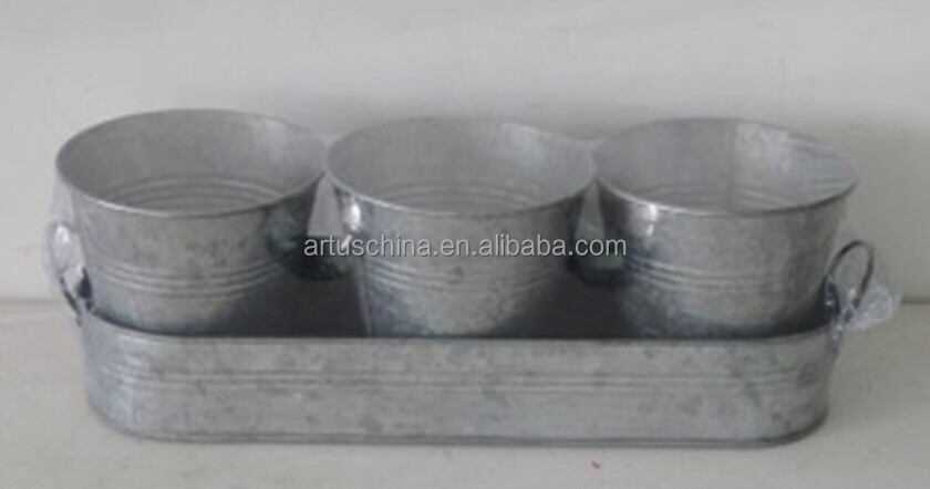 Set of 3 Galvanized Tin Metal Flower Pots Planter on Zinc Tray