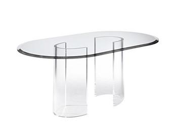 Clear Acrylic Half Tube Dining Table Base