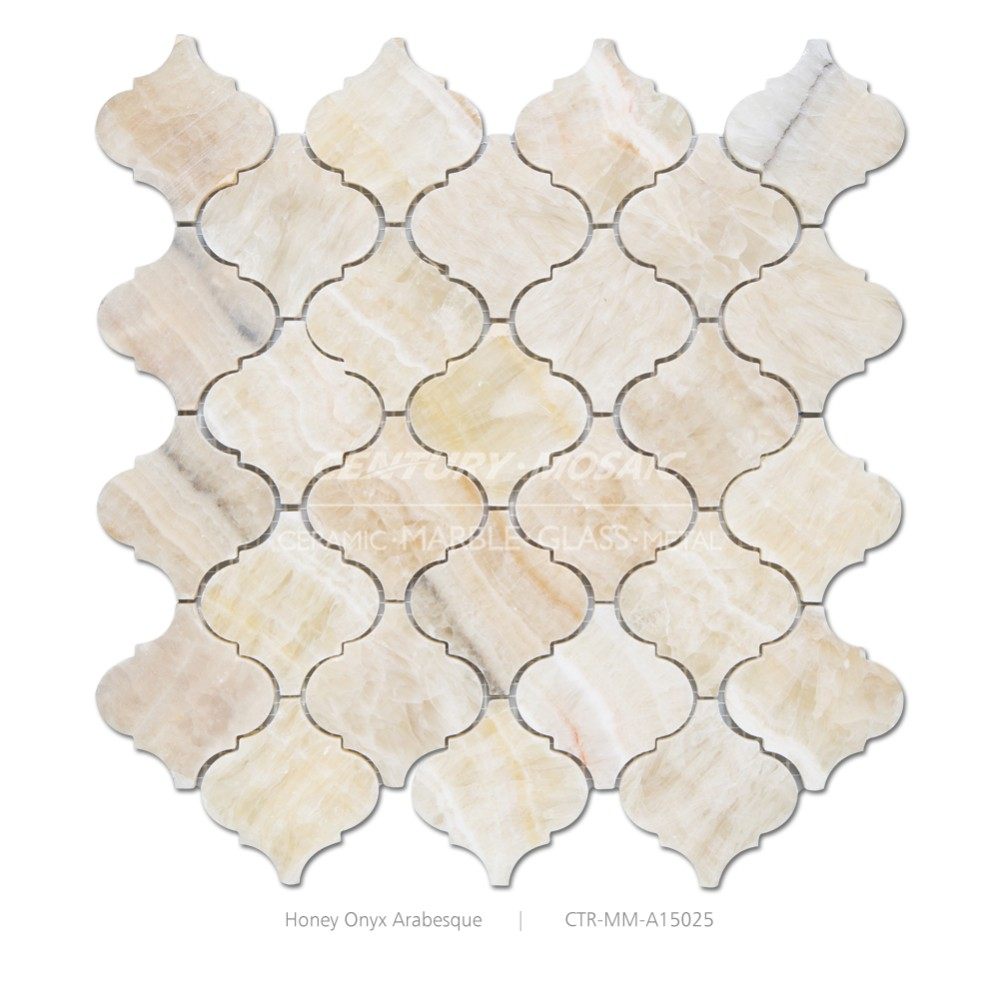 Arabesque type marble mosaic wall tile of Beige color family