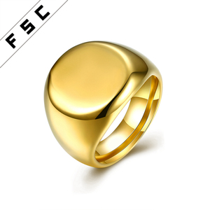 Cheap Custom Logo Gold Plated Engraved Stainless Steel Signet Rings for Men