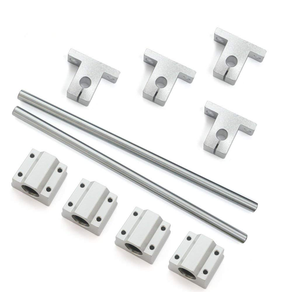 Bearing& Support,Ideaker Horizontal 8mm Dia Linear Motion Ball Bearing Slide Bushing &200mm Linear Shaft Optical Axis with Rod Rail Support Set of 10