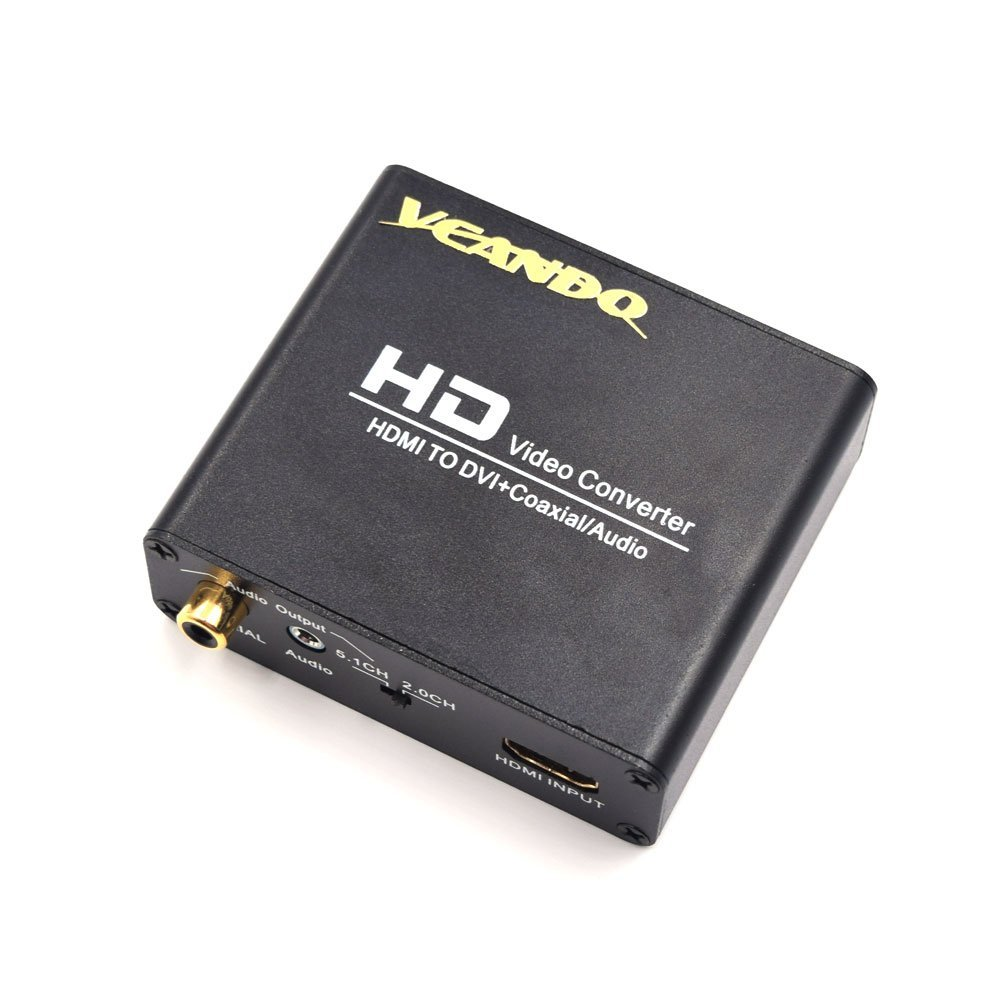 VCANDO HDMI to DVI Converter With Digital S/PDIF Coax and Analog Stereo Audio Output