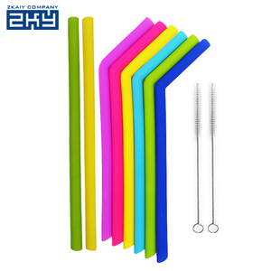 Flexible Silicone 25cm Long Reusable Drinking Straws Cool Heat Resistant Custom Printed Silicone Rubber Large Drinking Straws