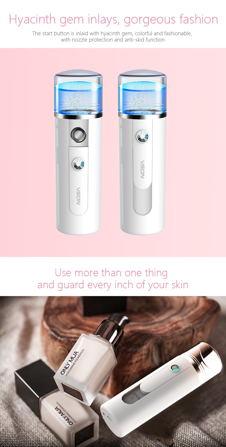 Portable Nano Ionic Facial Atomization Mist Sprayer With Cold Mist Steamer Skin Care Products Instrument