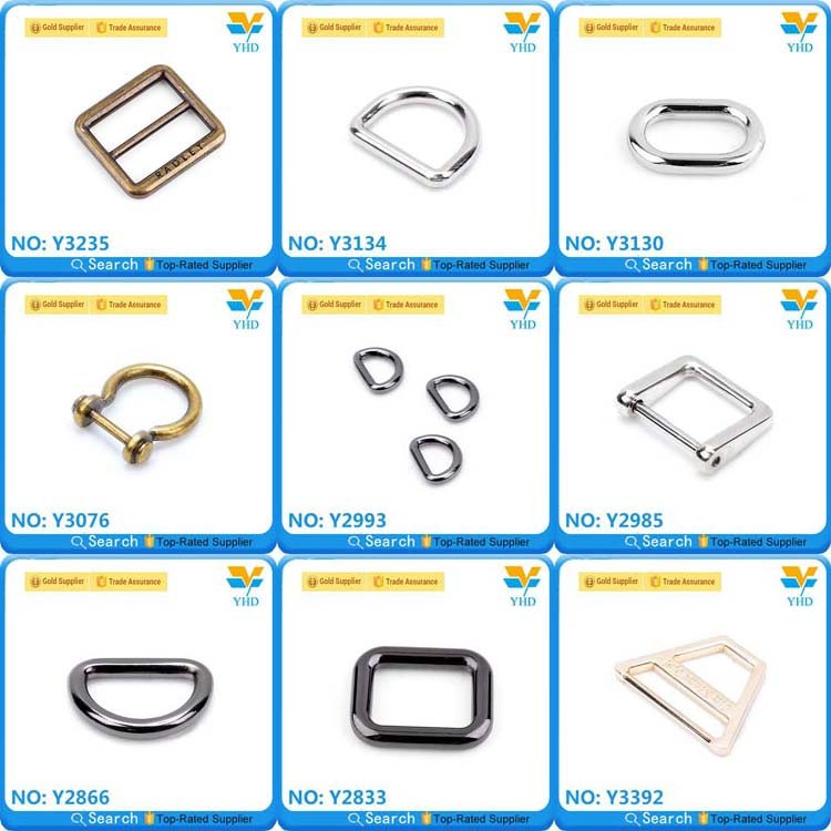 square gold plated Sturdy metal ring for safety belt