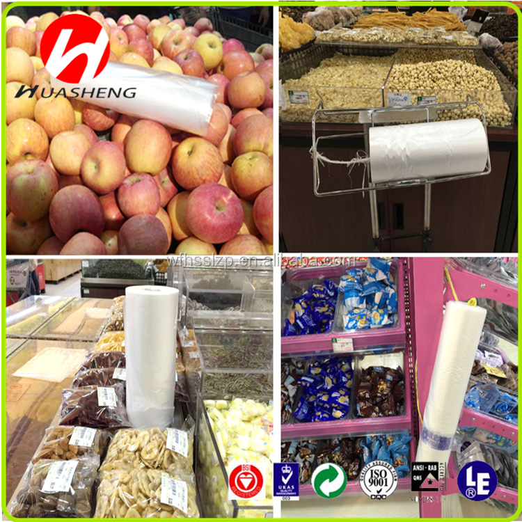 cheaper price PE supermarket T-Shirt plastic bag on roll for packaging