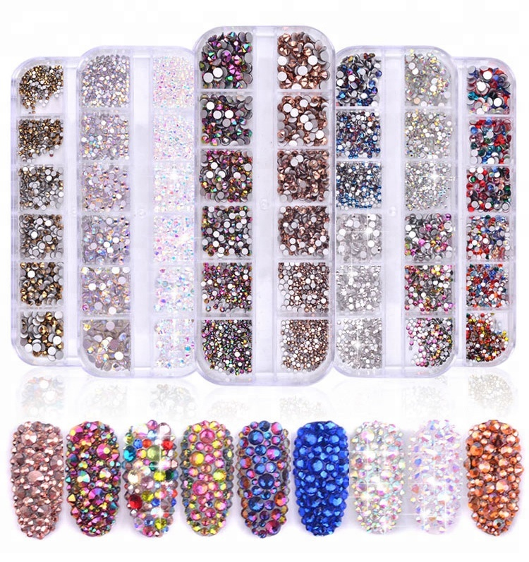 Multi-size Flat Bottom Glass Nail Rhinestone Decorations Crystal 3d Manicure Nail Art Accessories