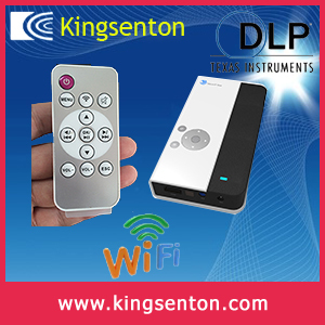 Kingsenton 3d mini projector android4.2 wifi portable projector dlp 720p hd 4400m AH power supply