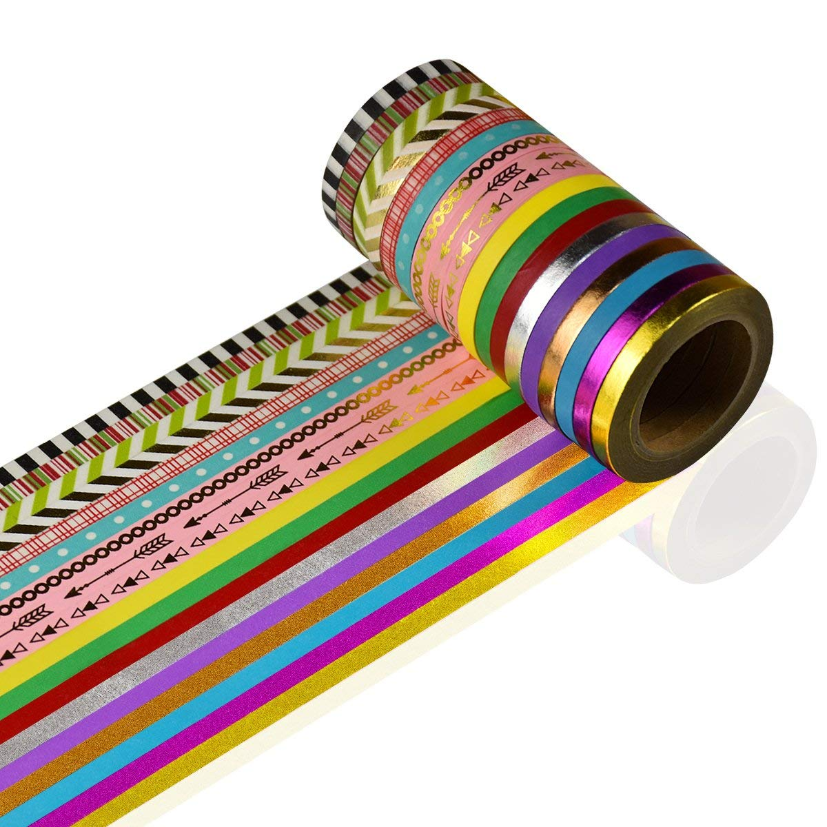 Washi Tape Set 18 Rolls All Girls Favorite For Arts and Crafts Masking Decorative tape DIY Scrapbooking Crafts Creative Re-positional Multi-purpose (0.2inch W 32.8ft L)