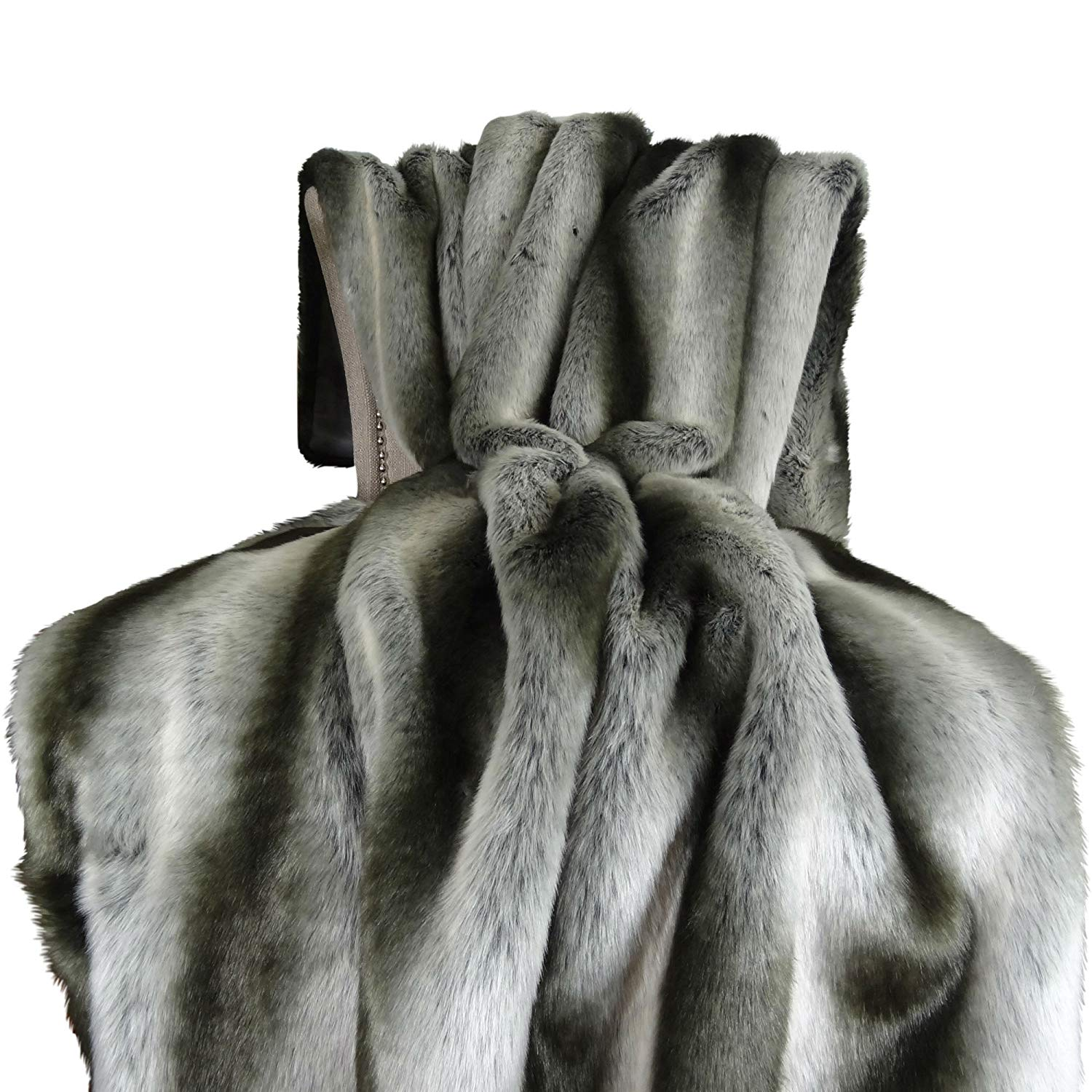 Thomas Collection Exotic Gray Chinchilla Faux Fur Throw Blanket & Bedspread - Gray Silver Chinchilla Fur - Gray Chinchilla Throw Blanket - Gray Silver, Made in USA, 16430