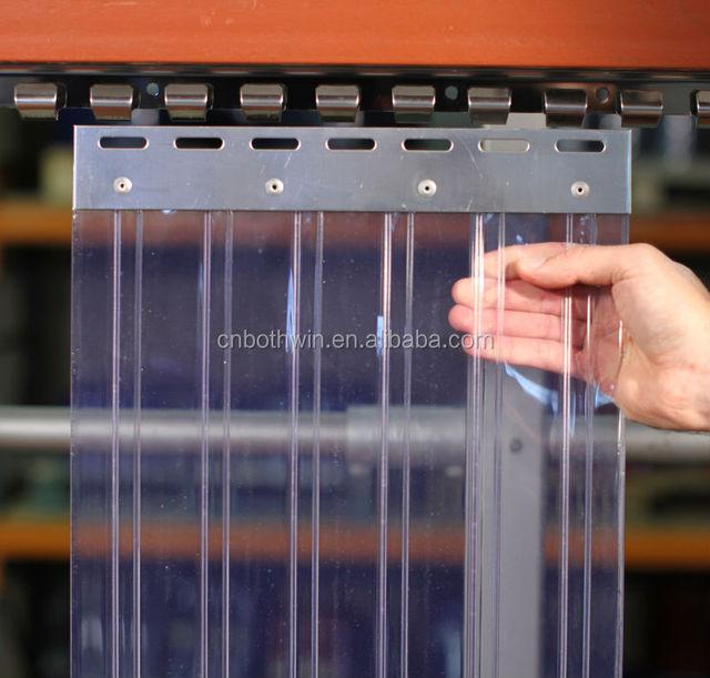 Cortina de fleje de PVC Cortina el/ástica industrial de 2x200 mm resistente a la intemperie completamente premontada rieles de montaje galvanizados transparente protecci/ón contra salpicaduras
