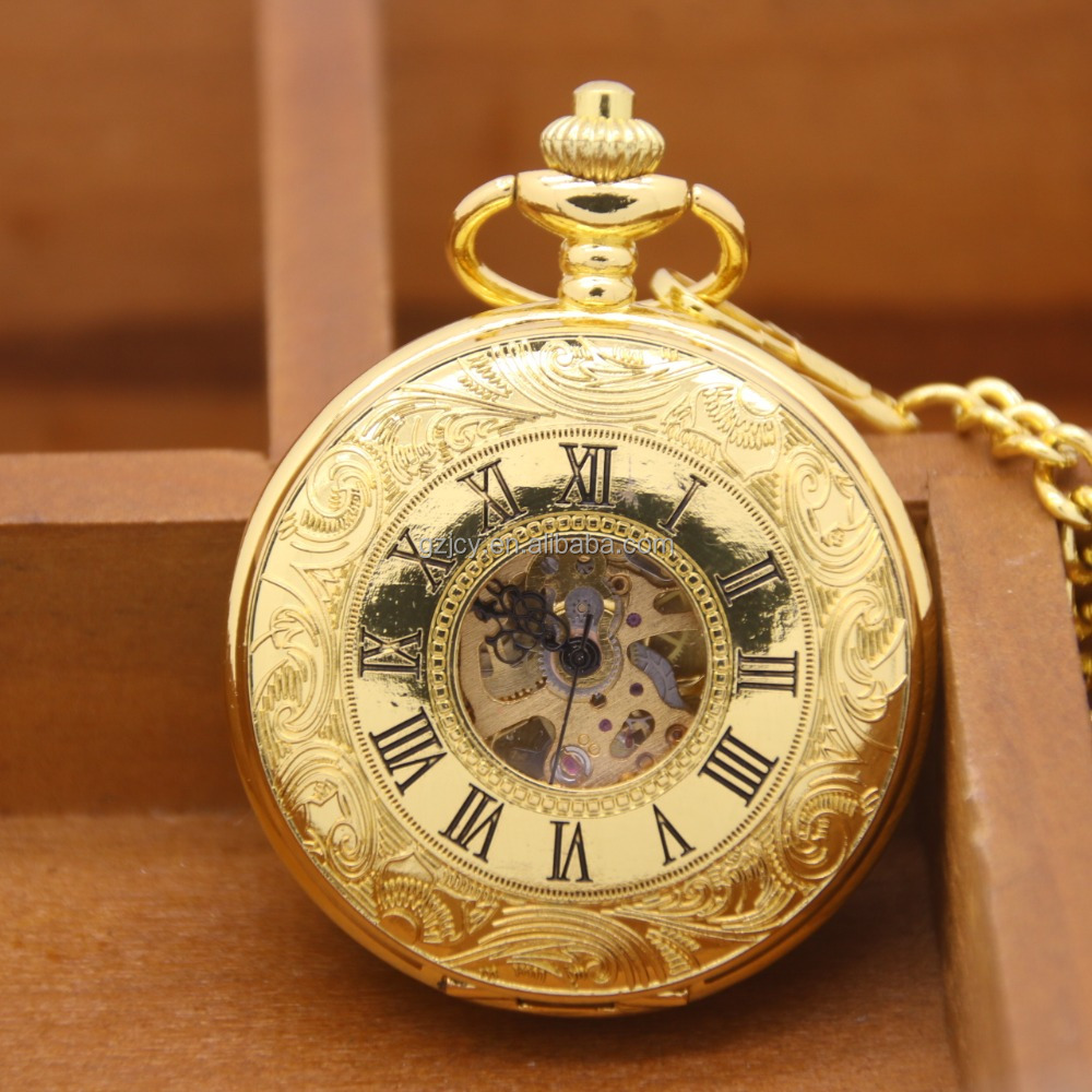 2017 trending products innovative double open roman numeral luxury gold mechanical pocket watch