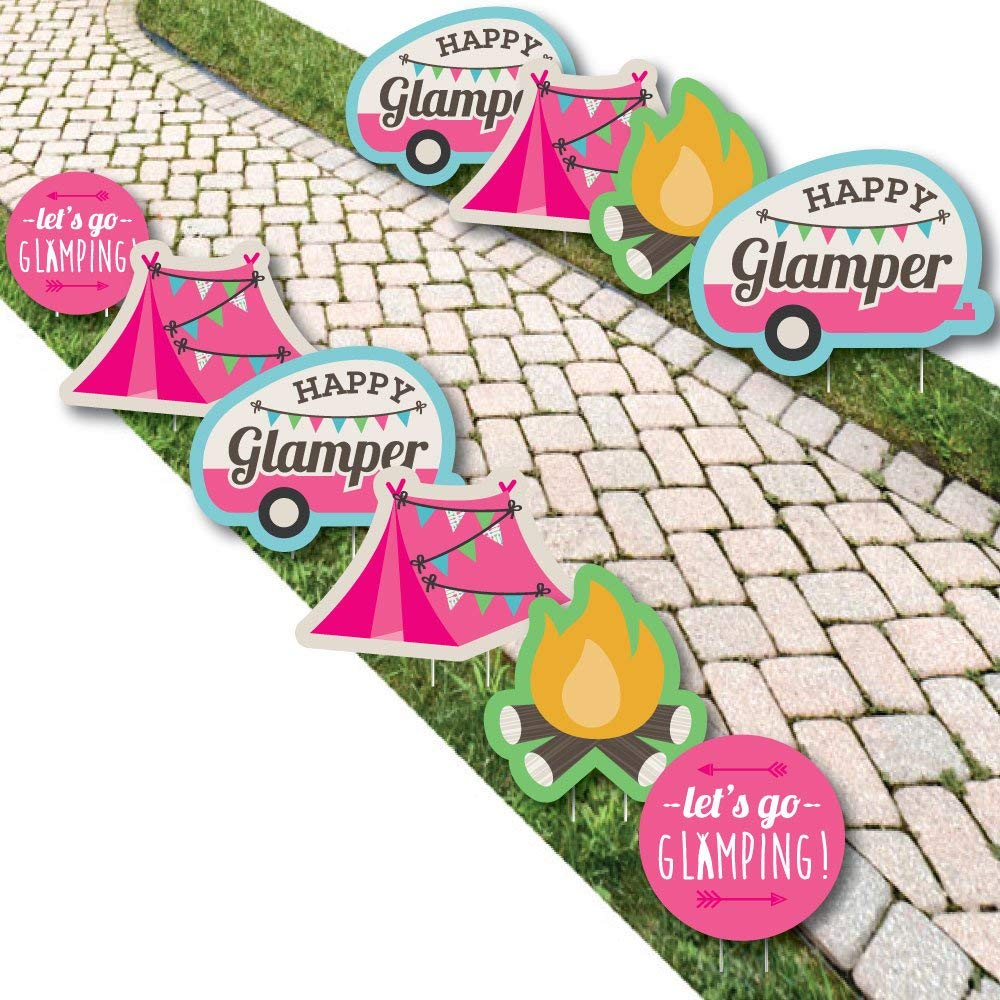 Let's Go Glamping - Camper Lawn Decorations - Outdoor Camp Glamp Party or Birthday Party Yard Decorations - 10 Piece
