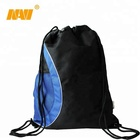 2019 Custom logo nylon drawstring backpack bag with mesh pocket