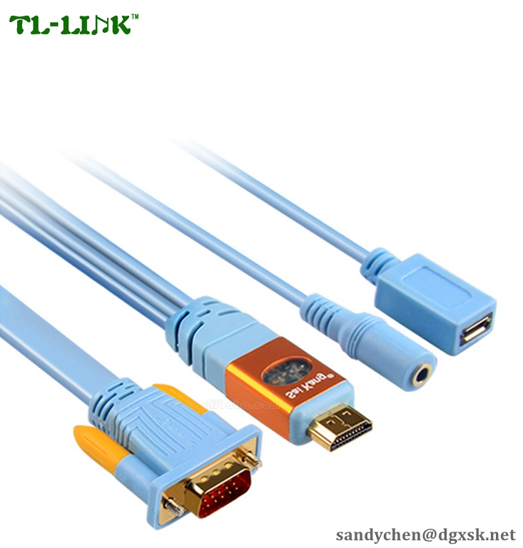 0.5M,1M,1.5M,2M,3M,5M,8M,10M Gold Plated HDMI TO VGA splitter adapter Cable With USB Female And 3.5mm Audio Female cable