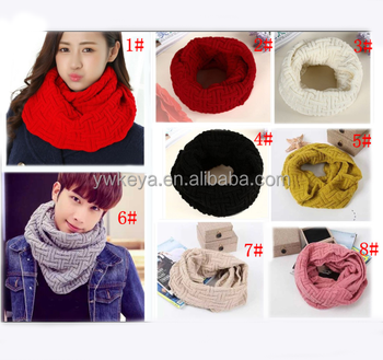 New style Unisex fashion warm 2015 winter knitting acrylic loop scarf with 8 solid colors