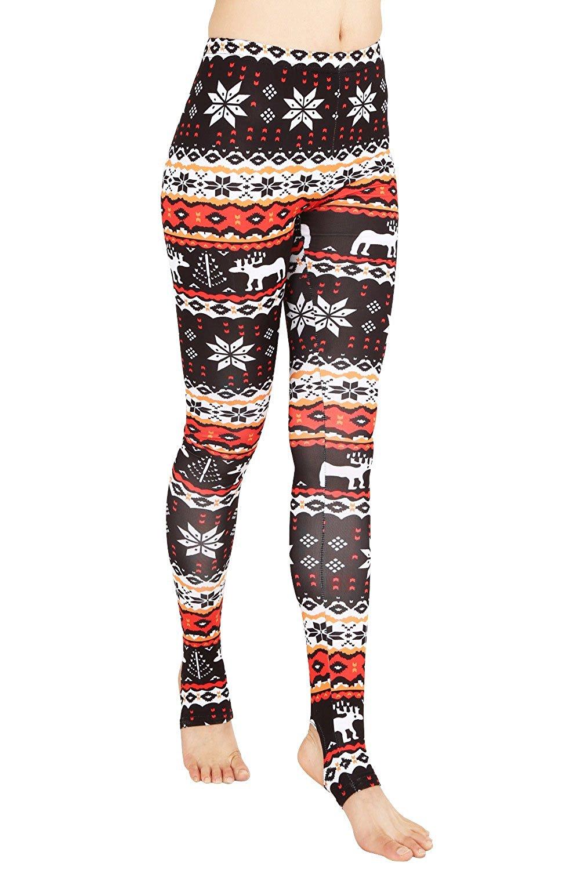 f7f3c4266fe3f Get Quotations · ReachMe Womens Christmas Pattern Leggings Reindeer  Snowflake Holiday Leggins