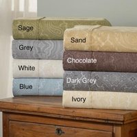 Simple Elegance Italian Paisley 600 Thread Count Cotton Blend Deep Pocket Sheet Set Full - Grey
