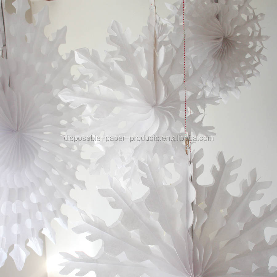 Paper tissue snowflake christmas decorations - White Paper Tissue Fan Christmas Decorations Paper Tissue Snowflake Christmas Decorations Christmas Paper Hanging Decorations