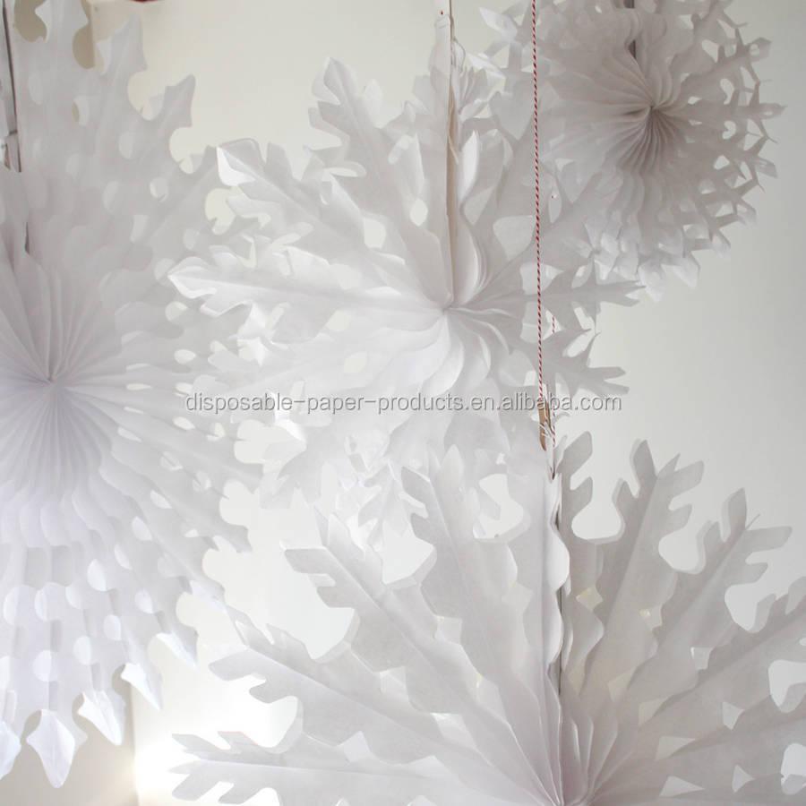 Papel blanco tejidos decoraciones de navidad papel copo de - Adornos navidenos de papel ...