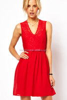 Red Sleeveless Scalloped Elegant Lace Skater Dress V Neck LC2958-2