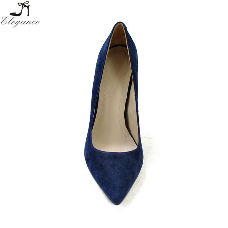 high evening shoe formal wholesale color leather dark dress blue handmade pumps solid lady heel for shoes china supplier women ZxvqwtUvf