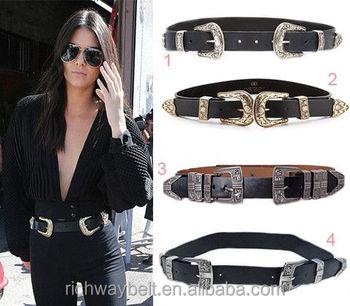 En gros épais double boucles mode dame ceinture large noire occidentale  ceinture noire 31a0d249cf9